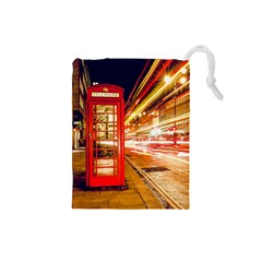 Telephone Box London Night Drawstring Pouches (small)