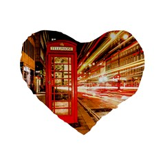 Telephone Box London Night Standard 16  Premium Flano Heart Shape Cushions