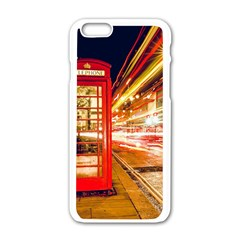 Telephone Box London Night Apple iPhone 6/6S White Enamel Case