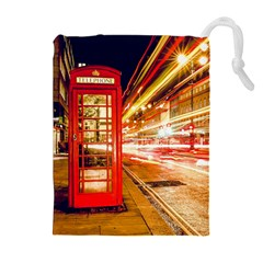 Telephone Box London Night Drawstring Pouches (Extra Large)