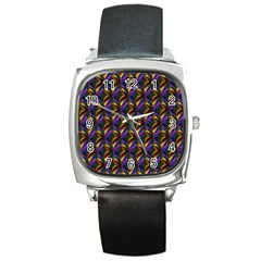 Seamless Prismatic Line Art Pattern Square Metal Watch