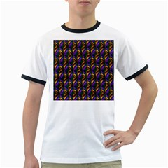 Seamless Prismatic Line Art Pattern Ringer T Shirts