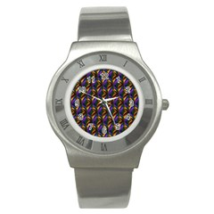 Seamless Prismatic Line Art Pattern Stainless Steel Watch
