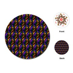 Seamless Prismatic Line Art Pattern Playing Cards (Round)