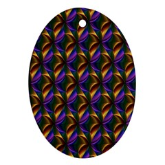 Seamless Prismatic Line Art Pattern Oval Ornament (two Sides)