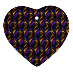 Seamless Prismatic Line Art Pattern Heart Ornament (Two Sides)