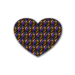 Seamless Prismatic Line Art Pattern Heart Coaster (4 Pack)