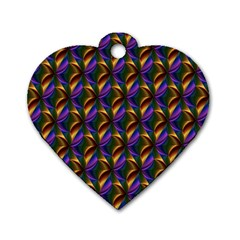 Seamless Prismatic Line Art Pattern Dog Tag Heart (one Side)