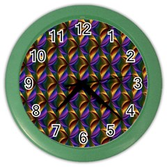 Seamless Prismatic Line Art Pattern Color Wall Clocks