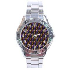 Seamless Prismatic Line Art Pattern Stainless Steel Analogue Watch