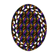 Seamless Prismatic Line Art Pattern Oval Filigree Ornament (two Sides)