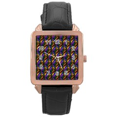 Seamless Prismatic Line Art Pattern Rose Gold Leather Watch