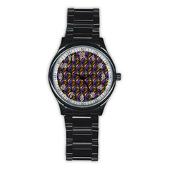 Seamless Prismatic Line Art Pattern Stainless Steel Round Watch