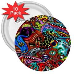 Vector Art Pattern 3  Buttons (10 pack)