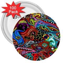 Vector Art Pattern 3  Buttons (100 pack)