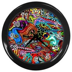 Vector Art Pattern Wall Clocks (black)