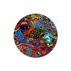 Vector Art Pattern Rubber Round Coaster (4 pack)