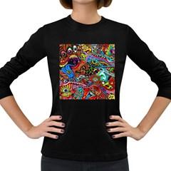 Vector Art Pattern Women s Long Sleeve Dark T Shirts