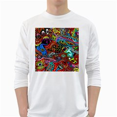 Vector Art Pattern White Long Sleeve T Shirts