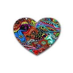 Vector Art Pattern Rubber Coaster (heart)