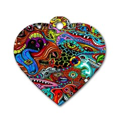 Vector Art Pattern Dog Tag Heart (Two Sides)