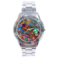 Vector Art Pattern Stainless Steel Analogue Watch