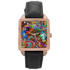 Vector Art Pattern Rose Gold Leather Watch