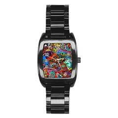 Vector Art Pattern Stainless Steel Barrel Watch