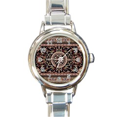 Vectorized Traditional Rug Style Of Traditional Patterns Round Italian Charm Watch