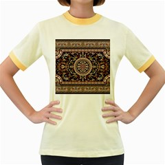Vectorized Traditional Rug Style Of Traditional Patterns Women s Fitted Ringer T Shirts