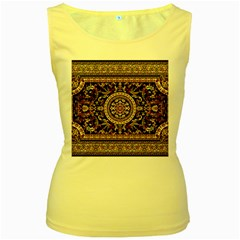 Vectorized Traditional Rug Style Of Traditional Patterns Women s Yellow Tank Top