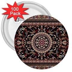 Vectorized Traditional Rug Style Of Traditional Patterns 3  Buttons (100 Pack)