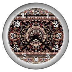 Vectorized Traditional Rug Style Of Traditional Patterns Wall Clocks (Silver)