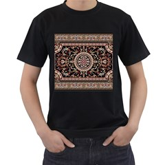 Vectorized Traditional Rug Style Of Traditional Patterns Men s T Shirt (black) (two Sided)