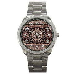 Vectorized Traditional Rug Style Of Traditional Patterns Sport Metal Watch