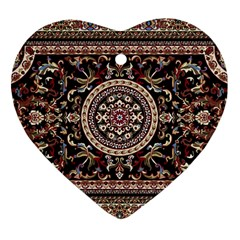 Vectorized Traditional Rug Style Of Traditional Patterns Heart Ornament (two Sides)