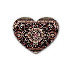 Vectorized Traditional Rug Style Of Traditional Patterns Heart Coaster (4 Pack)