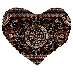 Vectorized Traditional Rug Style Of Traditional Patterns Large 19  Premium Heart Shape Cushions