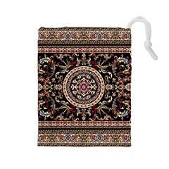 Vectorized Traditional Rug Style Of Traditional Patterns Drawstring Pouches (large)