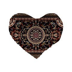 Vectorized Traditional Rug Style Of Traditional Patterns Standard 16  Premium Flano Heart Shape Cushions