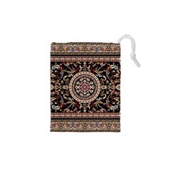 Vectorized Traditional Rug Style Of Traditional Patterns Drawstring Pouches (XS)