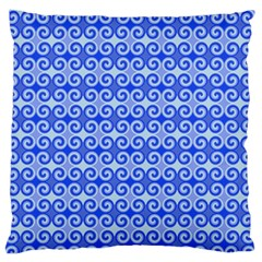 Blue Moroccan Large Flano Cushion Case (two Sides)