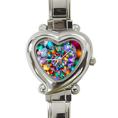 Rainbow Spiral Beads Heart Italian Charm Watch