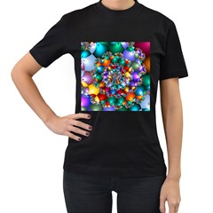 Rainbow Spiral Beads Women s T-Shirt (Black) (Two Sided)