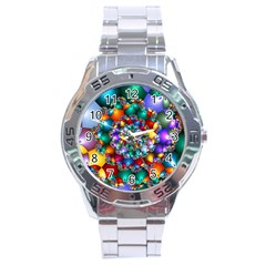 Rainbow Spiral Beads Stainless Steel Analogue Watch