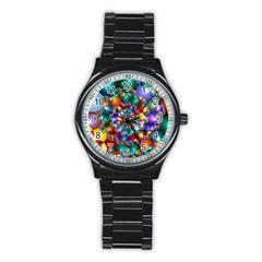 Rainbow Spiral Beads Stainless Steel Round Watch
