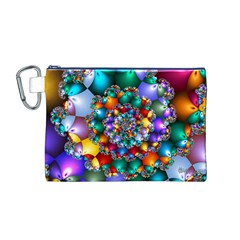 Rainbow Spiral Beads Canvas Cosmetic Bag (M)