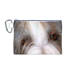 Bearded Collie Eyes Canvas Cosmetic Bag (M)