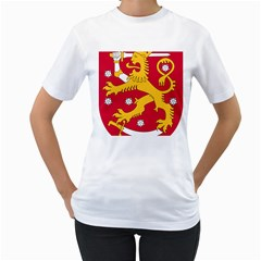 Coat of Arms of Finland Women s T-Shirt (White) (Two Sided)