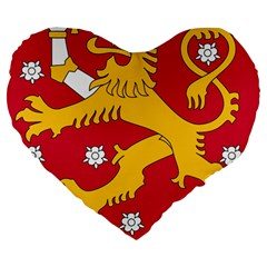 Coat of Arms of Finland Large 19  Premium Heart Shape Cushions